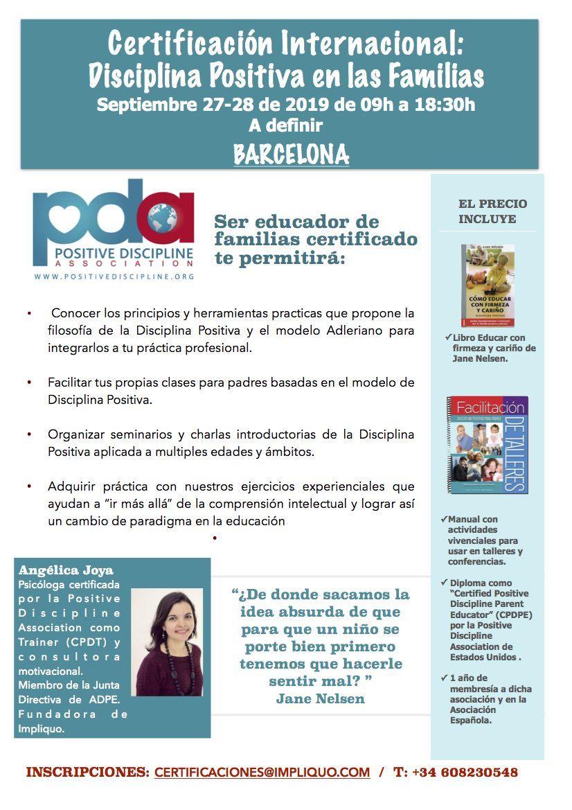 certificacion para ser facilitador de disciplina positiva en barcelona